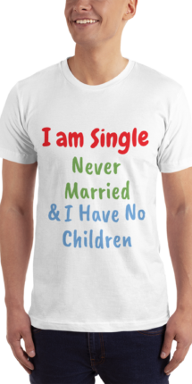 American Apparel 2001 Unisex Fine Jersey | Short Sleeve T-Shirt | I am Single White